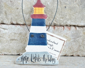 Lighthouse Salt Dough Ornament Nautical Decor Salt Dough Beach Ornament Hope Lights the Way
