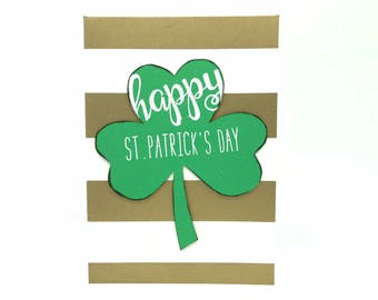 Happy St. Patrick's Day Card - Clover With Gold Stripes
