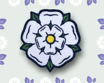White Yorkshire Rose Flower iron on sew on Embroidered Patch