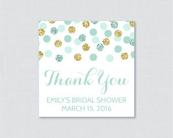 Mint and Gold Bridal Shower Favor Tags Printable - Mint and Gold Glitter Personalized Favor Tags Bridal Shower - Gold Glitter 0001-M