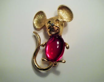 Park Lane Red Jelly Belly Mouse Brooch