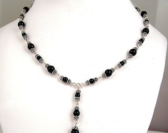 Black Onyx and Sterling Silver Y drop necklace