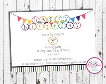 Rainbow birthday invitation, clean lines, pendant, happy birthday - print yourself or order prints