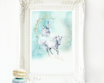 Unicorn Print, Unicorn nursery print, Unicorn wall art, girl's wall print, Kids room decor, magical unicorn, home decor