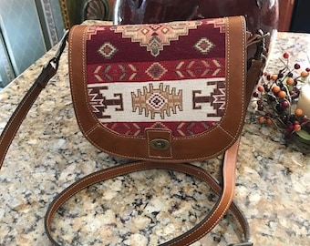 Leather Crossbody Shoulder Bag with Unique, Imported Fabric Panels