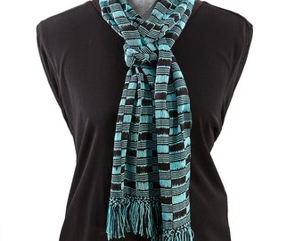 Hand Woven Turquoise Blue Bamboo Scarf