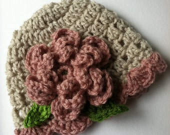 Crochet Baby Hat with Flower, Cream and Rose Hat with Flower, Baby Hat, Newborn Hat with Flower, Crochet Baby Hat, Newborn Hat, Infant Hat