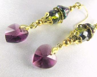 Purple Amethyst Swarovski Heart Earrings with Two Tone Green Teal Czech on 14k gold fill wires