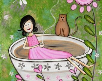 Kids Art Print of Tea Cup Bath Time Kitty Cat Painting - Girls Room Kid Wall Art Prints - Baby Nursery, Child & Teen Decor - TEA TIME by TLW