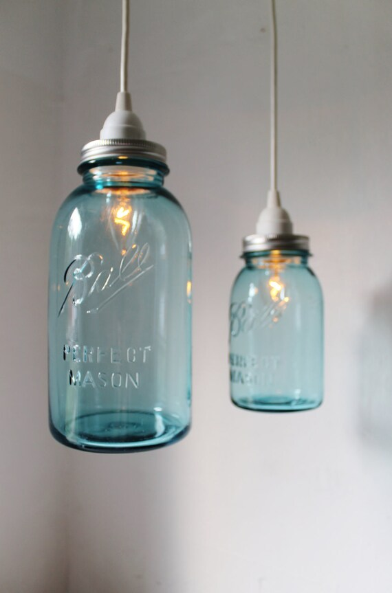 Sea glass mason jar pendant lights set of 2 hanging antique sea glass mason jar pendant lights set of 2 hanging antique blue ball mason jar lighting fixtures bootsngus lamps modern home decor mozeypictures Images