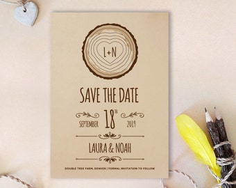 Tree stump save the date card | Kraft wedding save the dates  | Printed save the date cards for wedding | Woodsy save the date
