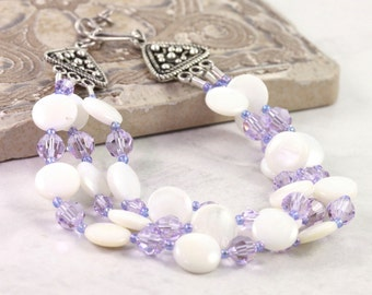 Mother of Pearl Bracelet, Pearl and Rose Jewelry, Multistrand Bracelet, Adjustable, For Mom