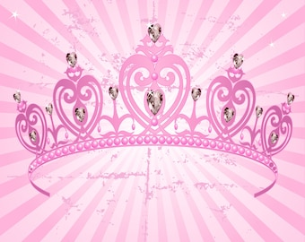 Pink Crown Backdrop - girl's birthday party - Printed Fabric Photography Background G1238