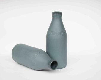 porcelain replica vintage milk bottle : slate colour