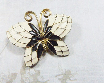 Vintage Black and White Butterfly Brooch - BUT-110 - Black Butterfly Brooch - White and Black Butterfly Brooch