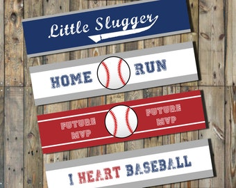 Baseball  Water Label Wraps - INSTANT DOWNLOAD