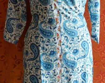 Hand Block Printed Cotton Hand Made Paisley Printed Ethnic Tunic/Kurta/Dress