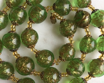 Vintage 1940's Green Murano Aventurine Glass Beads Necklace