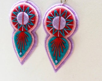 INDIE EARRINGS - Felt and hand embroidered textile earrings limited edition statement jewellery / jewelry burnt red turquoise lilac summer