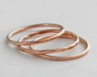 Rose Gold Stacking Ring, Rose Gold Ring, Hammered, Line Hammered, Faceted or Smooth, Rose Gold Band, Thumb Ring, Audrey, Limited Sizes