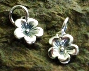 The Sweetest Sterling Silver Flower Charms Ever - 2 Tiny Cherry Blossoms - Oakhill Silver Supply C86