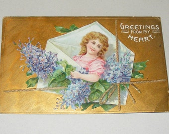 Antique German Postcard Embossed Girl in Envelope with Lilacs