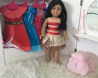 Moana Doll Dress / 18 Inch Doll Moana Dress / 14 inch Doll Dress