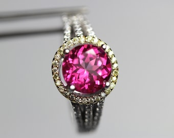 Flawless Genuine Pure Pink Topaz in a Halo Accented Sterling Silver Ring
