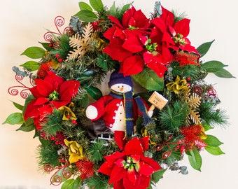 Christmas Wreaths For Front Door, Snowman Wreath,  Poinsettia Wreath, Evergreen Wreath, Holiday Decor, Christmas Decor, Front Door Decor
