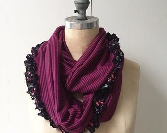 The Infinity Scarf in Magenta Stripe with Floral Ruffle