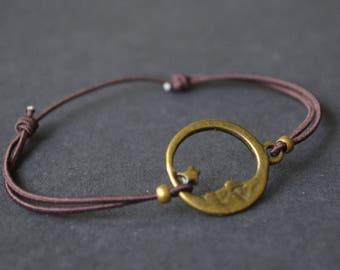 Bracelet lune étoile marron