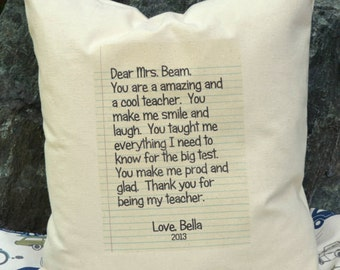 Personalized pillow, teacher gift,  letter pillow, grandparent gift, Mother's Day gift, Father's Day gift idea