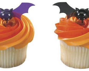 12 Bats Halloween Cupcake Picks Black and Purple Bat Toppers Party Favors
