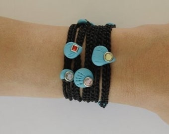 Black bracelet- red turquoise Cameo charm LuckXury multi Kabbalah for fashion and good energies