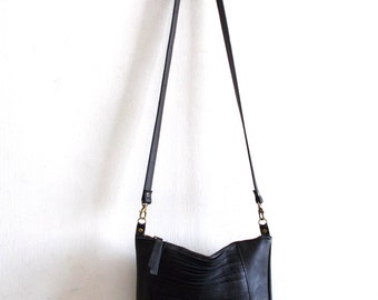 Black leather bag, Every day purse , Cross-body bag