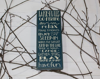 Lake Rules- Wood Box Sign