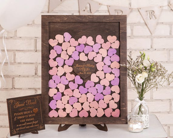 Custom Wedding Guest Book Alternative Wood Blue Drop Top Box