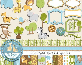 Safari Digital Clipart and Paper COMBO - Scrapbooking , card design, invitations, stickers, paper crafts, web design - INSTANT DOWNLOAD
