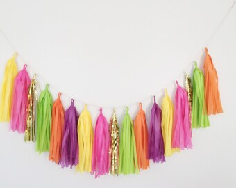 Rainbow Tassel Garland - Luau Party Decoration, Tropical Party Decoration, Flamingo Party Decor, Fiesta Party Decoration, Flamingo Decor