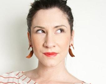Fake Gauges, Fake Plugs, Handmade Wood Earrings, Tribal Style - Fatima Swans Tan