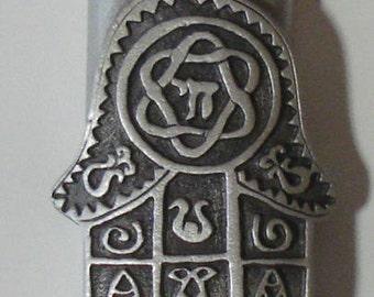 Chamsa Pewter Mezuzah made with Swarovski Crystal - Mezuzah For The Door