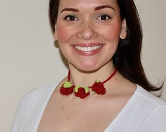Handmade Crochet Three Rose Bud Necklace