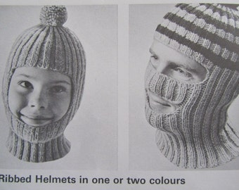 Knit Hat PDF Pattern - Vintage Pattern, Knitted Helmet Patterns 118b