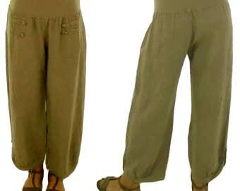 HF400BG42 pants Gr. L linen layered look Gr. 42 beige pants Alibabahose harem-pants