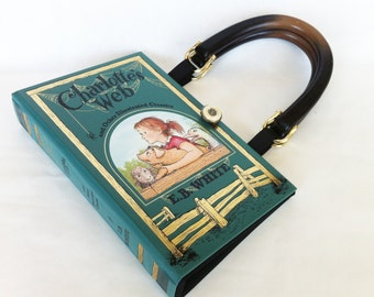 Charlottes Web Recycled Book Purse - Leather bound Book Purse - Teacher Gift - Girlfriend Gift - Literary Accessory - Book Clutch