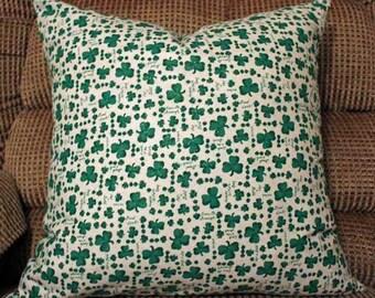 St Patricks Day Lucky Shamrocks Pillow Cover Decorative Throw 18x18
