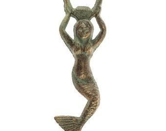 Mermaid Bottle Opener cast iron brass ans Patina green