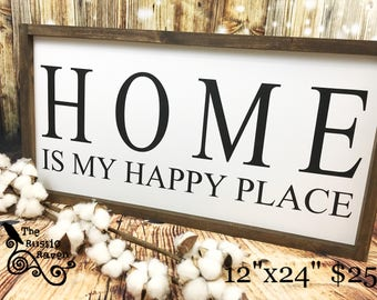 Farmhouse Framed Style Home Is My Happy Place Sign