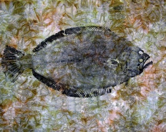 GYOTAKU fish Rubbing Flounder 8.5 X 11 Fisherman Gift quality Fluke Art Print by artist Barry Singer
