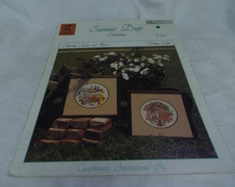 Counted Cross Stitch Pattern, Morning Glories and Roses, Volume Eight, Summer Days Collectives 1990